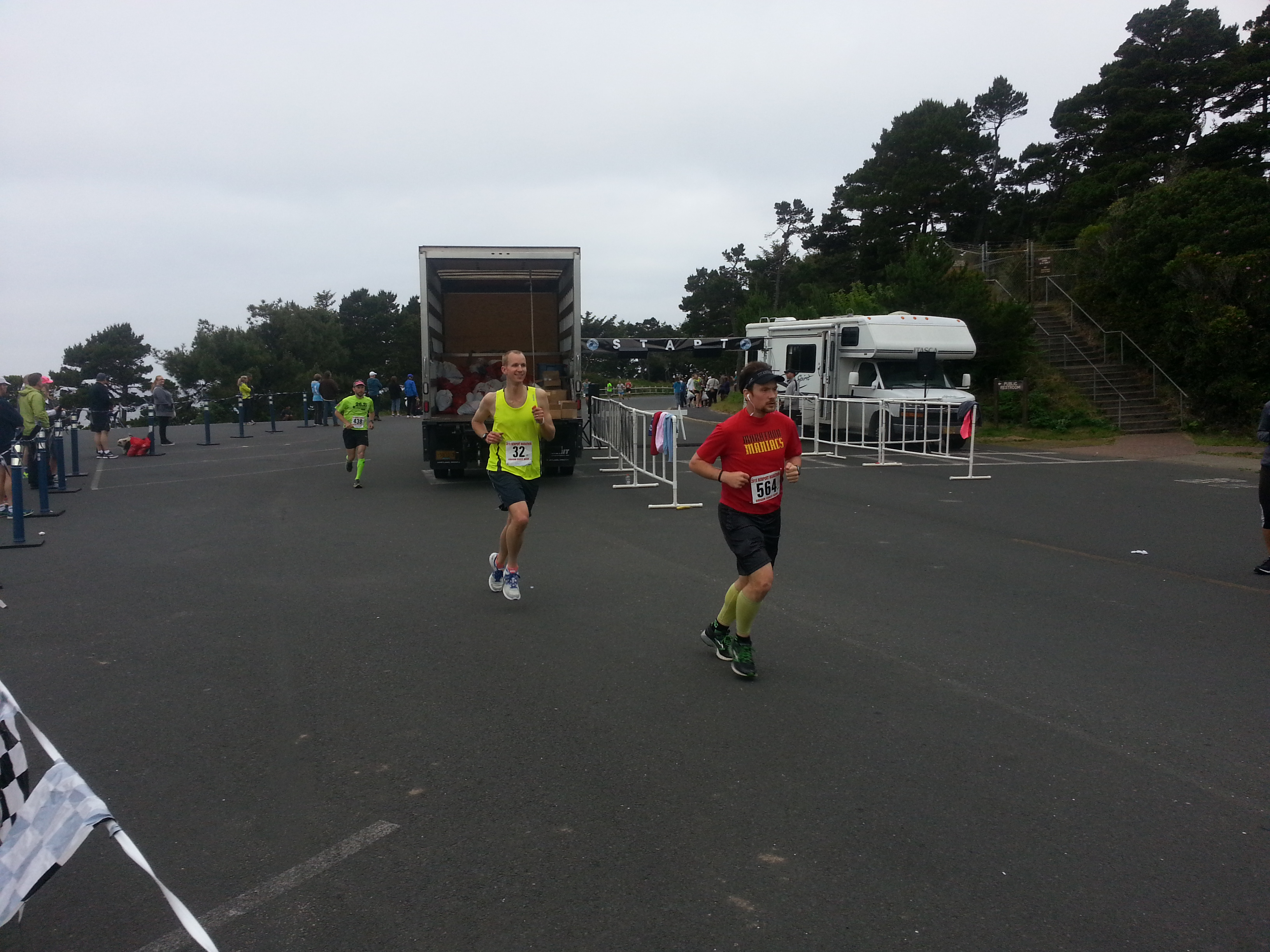 Running back past the Newport Marathon starting line at about Mile 3