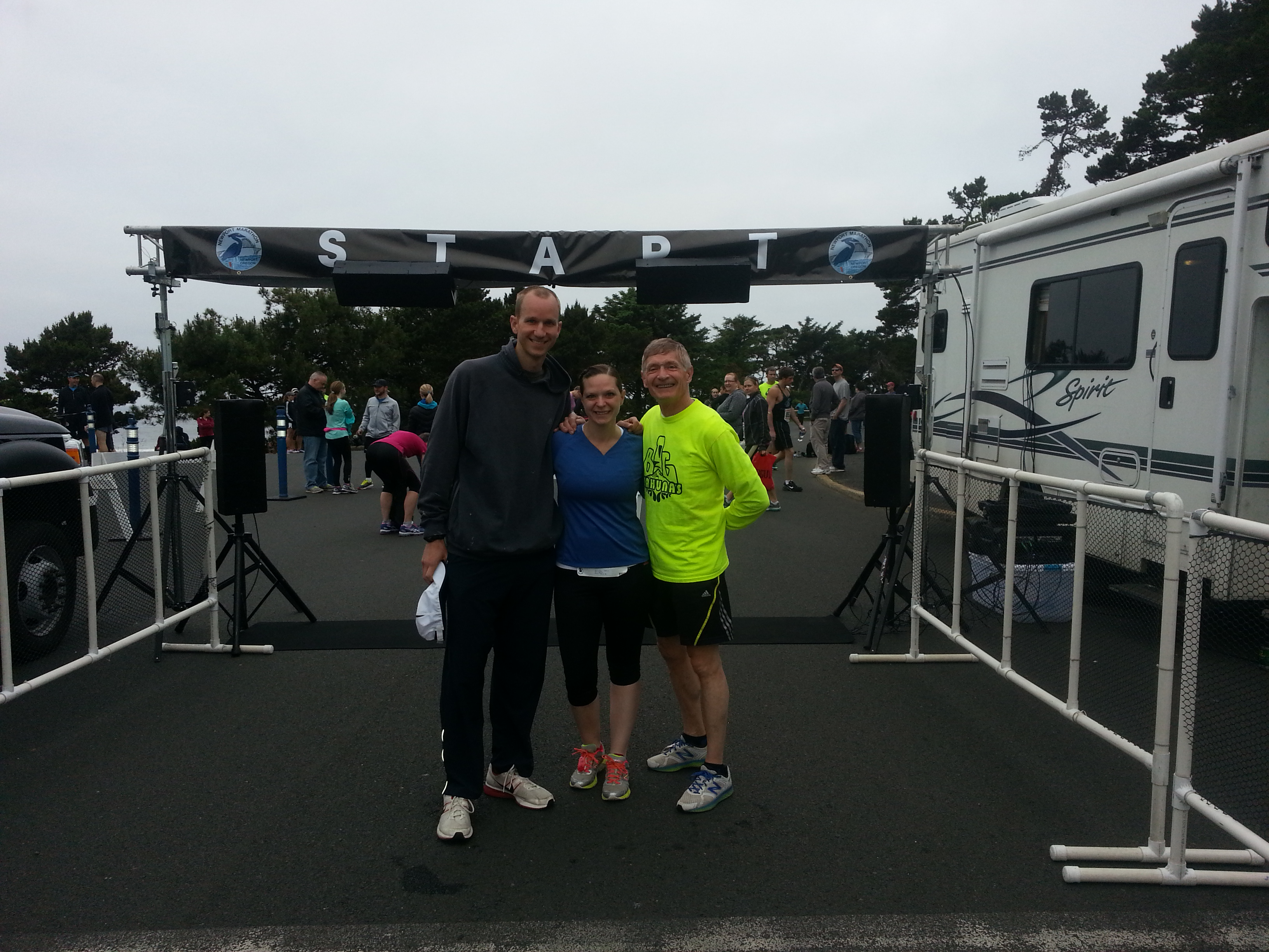 In front of the Newport Marathon starting line with Jerry and Kara