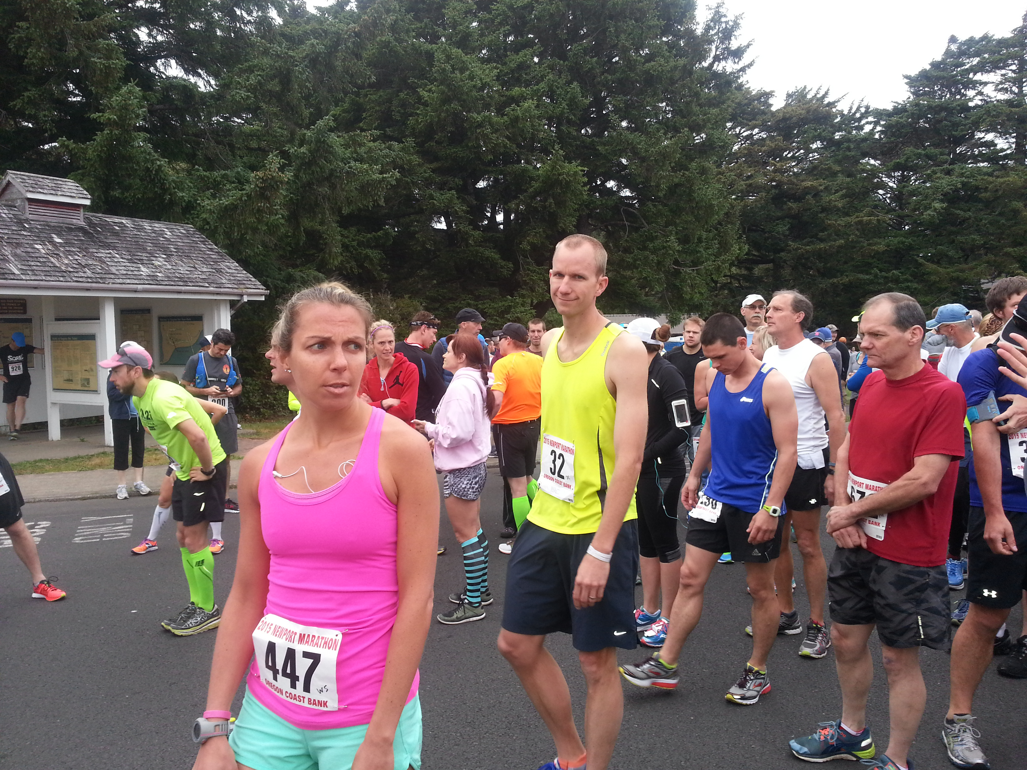 Waiting at the start of the Newport Marathon