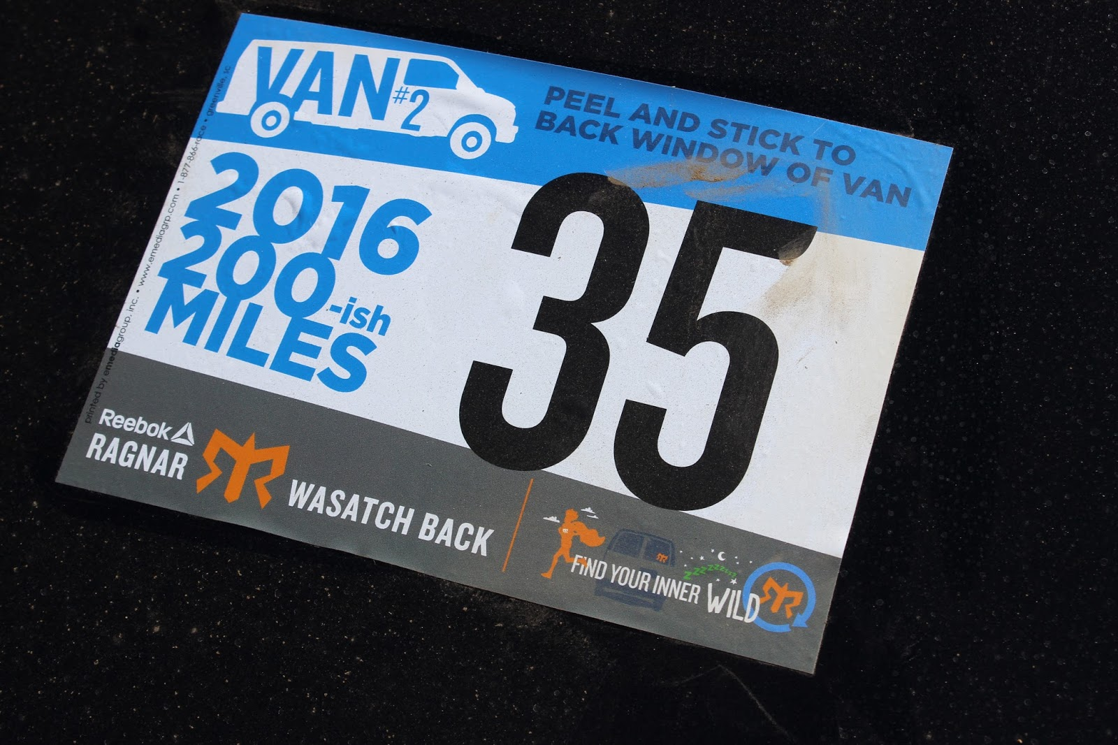 2016 Ragnar Wasatch Back Van 2 Bib