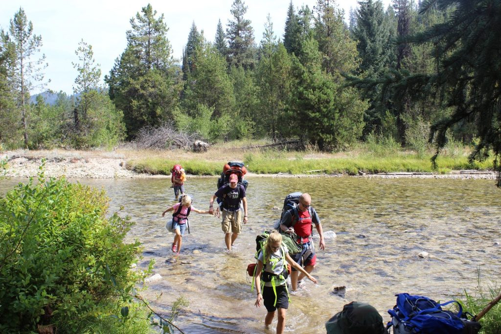 Part of our crew crossing the Middle Fork of the Payette River