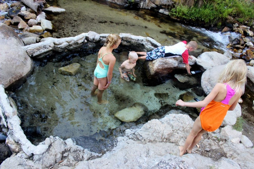 Testing out the hot springs