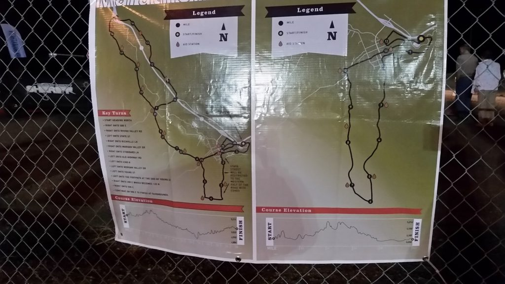 I checked out the Morgan Valley Marathon course map while I was milling around near the starting line