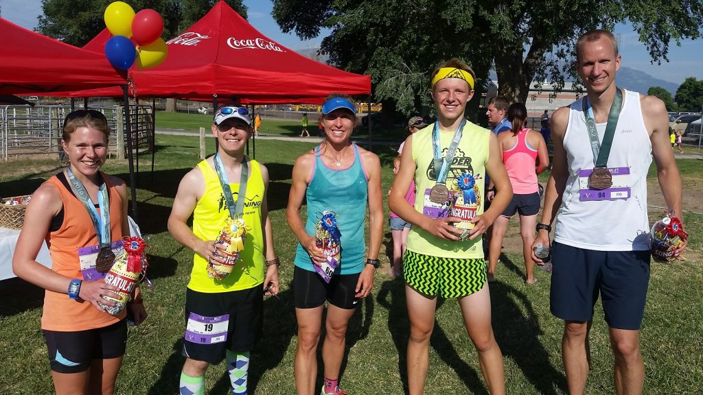 Top 3 male and top 2 female finishers of the Morgan Valley Marathon