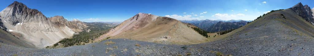 A panorama from Castle Divide in the White Cloud Mountains