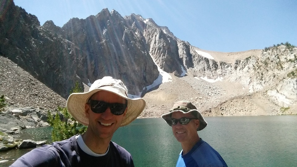Michael and I at Castle Lake in the White Cloud Mountains