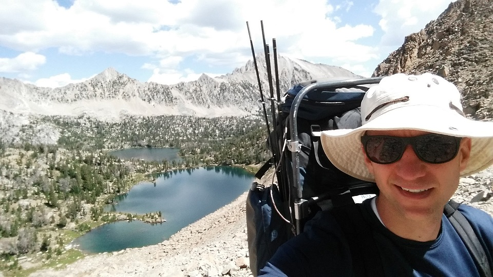My selfie on top of Windy Devil pass with Scoop Lake in the background