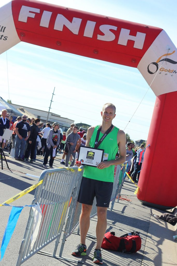 Layton Marathon finish line photo with my plaque