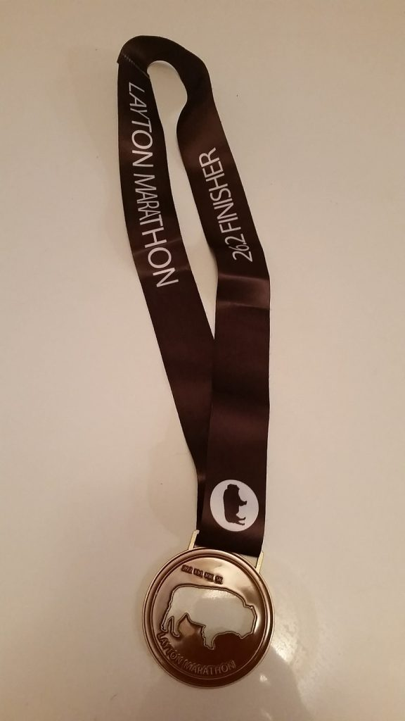 The 2016 Layton Marathon medal