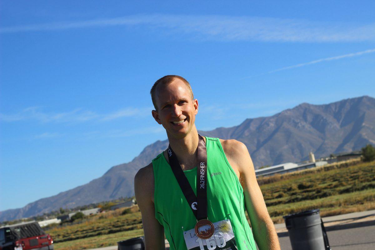 Wearing my Layton Marathon medal