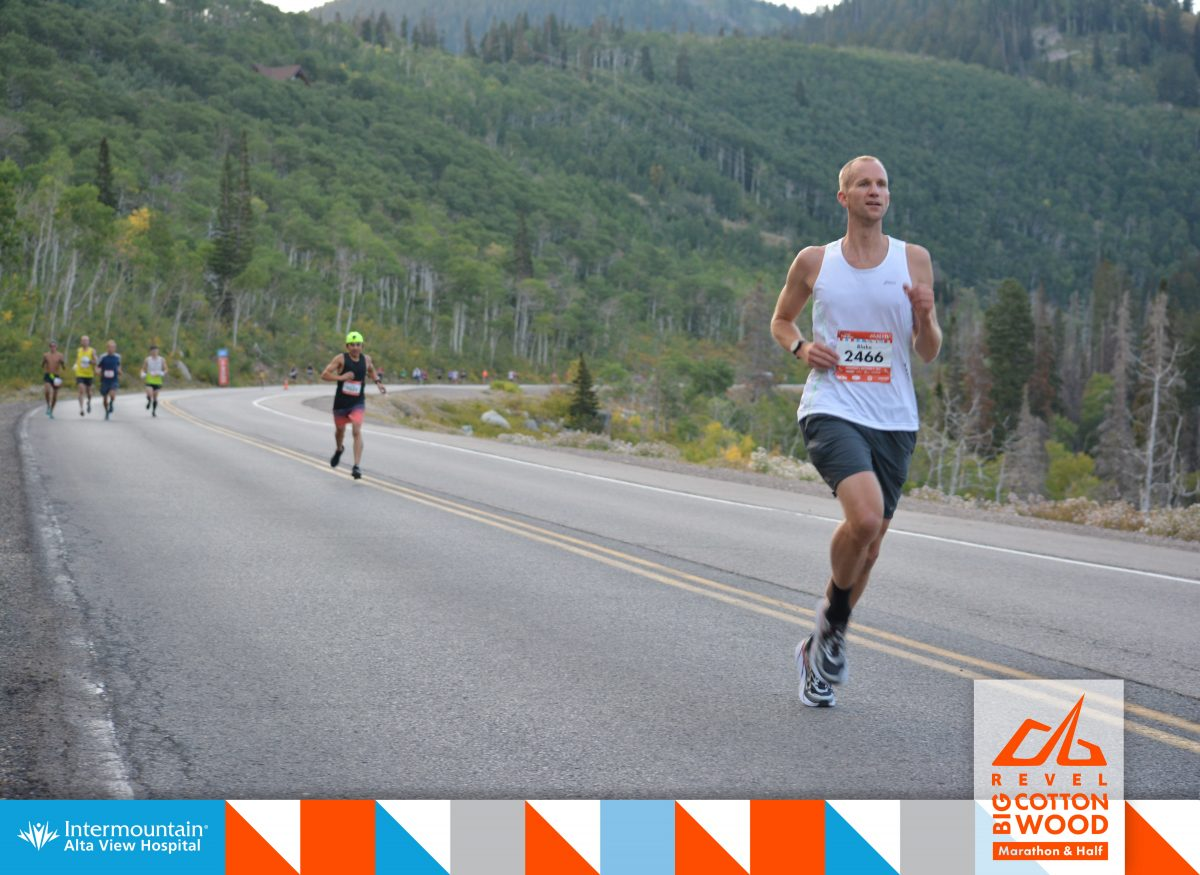 Just after mile 5 of the Big Cottonwood Marathon