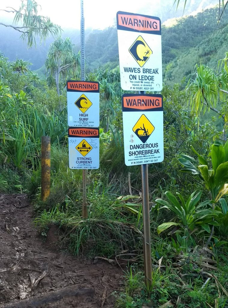 Warning signs at Hanakapiai Beach